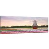 Bilderdepot24 Tulips Field with Windmill Framed Photographic Print