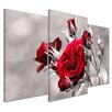 Bilderdepot24 Red Rose 3-Piece Photographic Print on Canvas Set