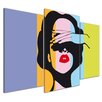 Bilderdepot24 Retro Woman Pop Art Style 3-Piece Graphic Art on Canvas Set