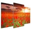 Bilderdepot24 Poppy Field 3-Piece Photographic Print on Canvas Set