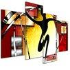 Bilderdepot24 Abstract 4 Piece Graphic Art on Canvas Set