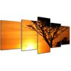 Bilderdepot24 Acacia Tree at Sunset, Tanzania Serengeti Africa 5 Piece Photographic Print on Canvas Set