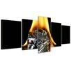 Bilderdepot24 Flaming Ice Cube 5-Piece Photographic Print on Canvas Set