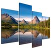 Bilderdepot24 Reflection in a Lake 4-Piece Photographic Print on Canvas Set