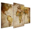 Bilderdepot24 Retro World Map 3-Piece Graphic Art on Canvas Set