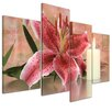 Bilderdepot24 Lily Blossom with Candle 4-Piece Photographic Print on Canvas Set