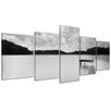 Bilderdepot24 Pier 5-Piece Photographic Print on Canvas Set in Black and White