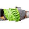 Bilderdepot24 Zen Stones with Leaf 5-Piece Photographic Print on Canvas Set
