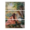 Bilderdepot24 'Young Girls in the Meadow' by Pierre Auguste Renoir 3 Piece Painting Print Set on Canvas