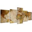 Bilderdepot24 Retro World Map II 5-Piece Graphic Art on Canvas Set