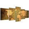 Bilderdepot24 World Map 5-Piece Graphic Art on Canvas Set