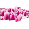 Bilderdepot24 Pink Tulips 5-Piece Photographic Print on Canvas Set