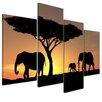 Bilderdepot24 Elephant Family 4-Piece Photographic Print on Canvas Set