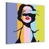Bilderdepot24 Retro Woman Pop Art Style Framed Graphic Art on Canvas