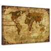 Bilderdepot24 Retro World Map II Frame and Paper Framed Photographic Print on Canvas