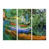 Bilderdepot24 'Rowing Boats on the Banks of the Oise' by Vincent van Gogh 3 Piece Painting Print Set on Canvas