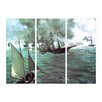 Bilderdepot24 'The Battle of the Kearsarge and the Alabama' by Édouard Manet 3 Piece Painting Print Set on Canvas