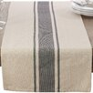 Saro Classic Banded Stripe Cotton Topper Table Runner