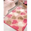 Home Loft Concept Hearts Machine-Woven Pink Area Rug