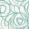 "York Wallcoverings WallpapHER Diamond Oasis 27' x 27"" Abstract Flocked Wallpaper (Set of 2)"