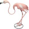 House Additions Metal Bending Pink Flamingo Garden Statue