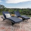 Brayden Studio Dery Wicker Chaise Lounge with Cushion and Table
