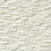 "MS International Arabescato Splitface 0.4"" x 1.2"" Marble Mosaic Tile in White (Set of 10)"