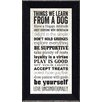 Winston Porter 'Things We Learn From a Dog' Framed Textual Art