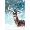 """Marmont Hill """"Cerf Neigeux"""" Oil Painting Print on Wrapped Canvas"""