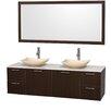 """Wyndham Collection Amare 72"""" Double Espresso Bathroom Vanity Set with Mirror"""