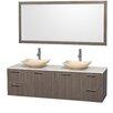 "Wyndham Collection Amare 72"" Double Gray Oak Bathroom Vanity Set with Mirror"