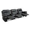 Latitude Run 3 Seat Reclining Leather Home Theater Sofa