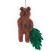 Home Loft Concept Bear with Christmas Tree Hanging Figurine
