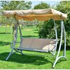 Outsunny 3 Seater Canopy Metal Swing Seat with Stand