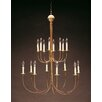 Northeast Lantern Sockets Hanging 2 Tier J-Arms 16-Light Candle-Style Chandelier
