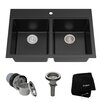"Kraus Granite 33.5"" x 22"" Double Basin Undermount Kitchen Sink"