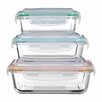 Castleton Home Freska Rectangular Glass 3 Piece Food Storage Set