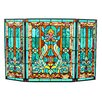 Astoria Grand Amboy Fleur de Lis Stained Glass Fireplace Screen