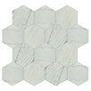 "Marbre Carrara 8.63"" x 9.88"" Porcelain Mosaic Tile in White"