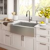 """Kraus Stainless Steel 29.75"""" x 20"""" Farmhouse Kitchen Sink with NoiseDefend™ Soundproofing"""