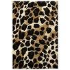 DonnieAnn Company Sculpture Leopard Skin Print Black/Brown Area Rug