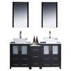 "Fresca Torino 60"" Double Modern Bathroom Vanity Set with Mirror"