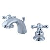 Kingston Brass Victorian Double Handle Widespread Mini Bathroom Faucet with Brass Pop-Up Drain