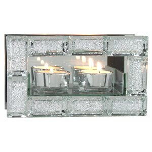 Double Mirror Tea Light Holder Crystal Block Design