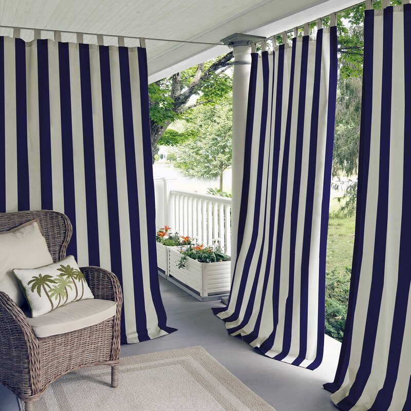 Delightful Briarton Highland Stripe Semi Sheer Outdoor Tab Top Single Curtain Panel