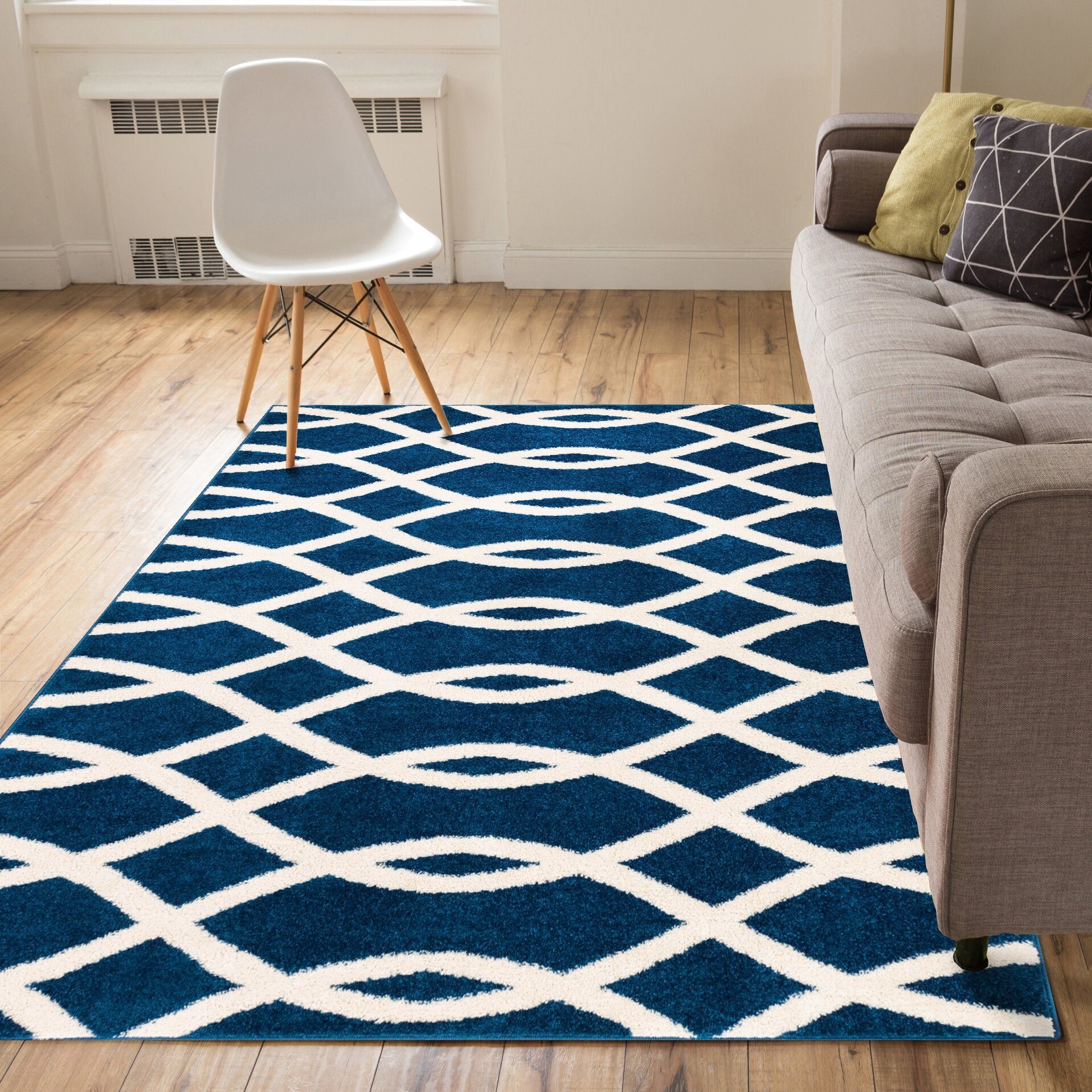 Winston Porter Manning Poofy Blue And White Area Rug