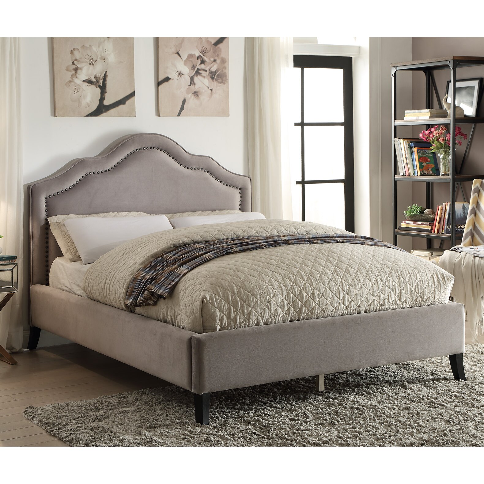 nspire queen upholstered platform bed  reviews  wayfair supply - queen upholstered platform bed