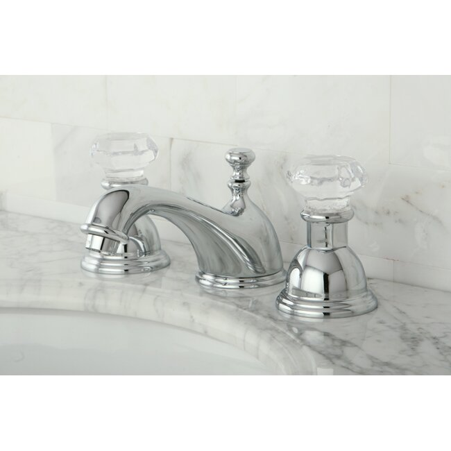 Kingston Brass Victorian Crystal Widespread Bathroom Faucet: Kingston Brass Celebrity Celebrity Double Crystal Handle Widespread Bathroom Faucet With Brass