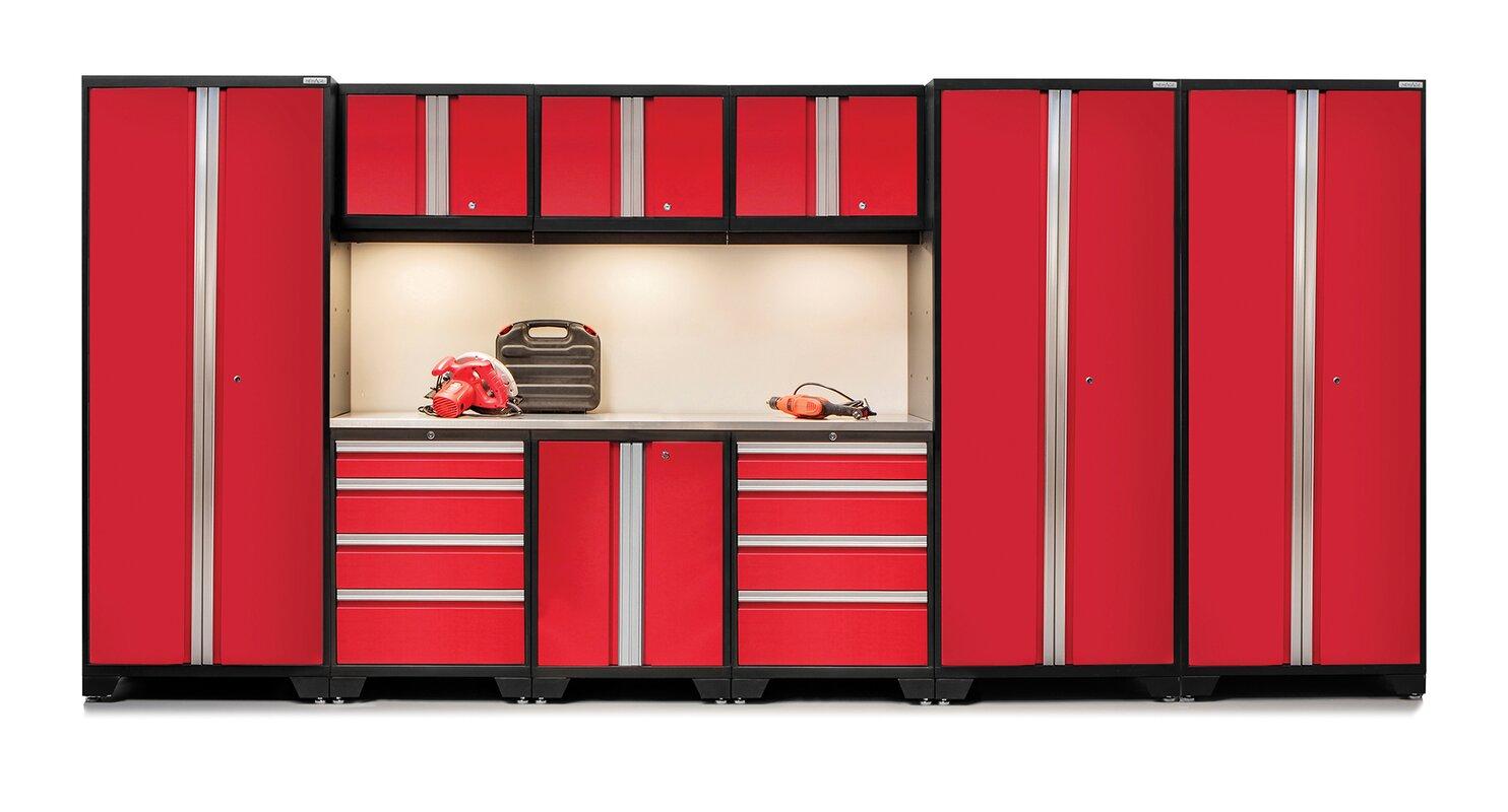bold 30 series 10 piece garage storage cabinet set with worktop