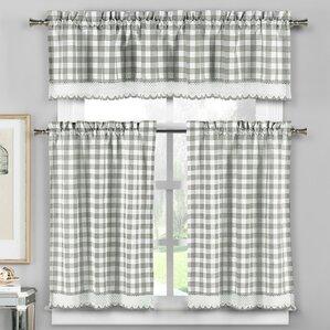 Cassia 3 Piece Crochet Kitchen Curtain Set